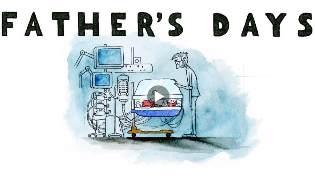 Desen in creion reprezentănd un tată în fața incubatorului , privindu-și copilul