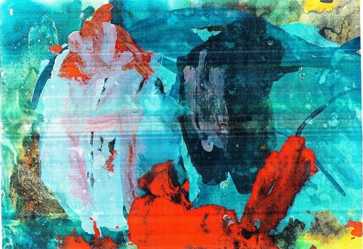 Pictura abstracta realizata de tănar cu autism