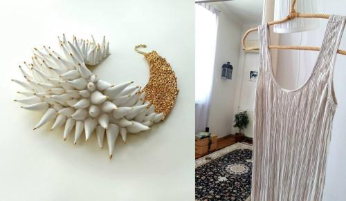 Colier alb și auriu si o rochie-maieu argintie