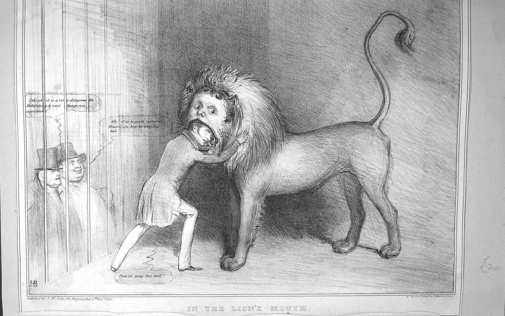 dresor cu capul în gura leului. Desen in creion