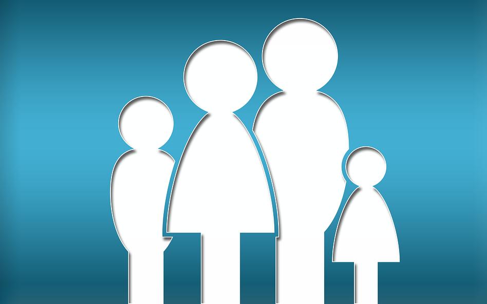 pictograma reprzentănd o familie, părintii si doi copii. Desen alb pe fond albastru
