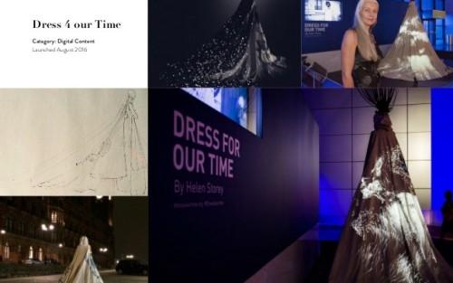 imagine din sala de conferințe, pe ecran este proiectată rochia digitală