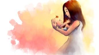 pictură- o mamă ține în brațe un copil mic