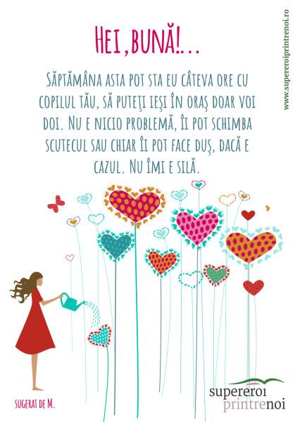 ilustrație cu o fată îmbrăcată în rochie, udă cu stropitoarea plante în formă de inimă. Textul spune: