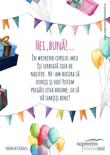 Diferite elemente de petrecere, stegulețe, cadouri și balaone. Textul spune: În weekend copilul meu îşi serbează ziua de naştere. Ne-am bucura să veniţi şi voi! Putem pregăti ceva anume, ca să vă simţiţi bine?