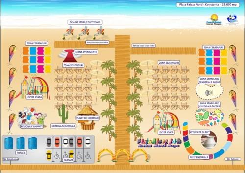 hartă desenată a facilităților pe care plaja le va oferi