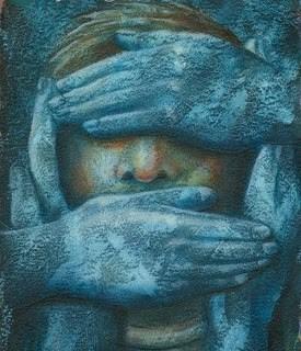 Pictură reprezentănd un chip uman, ochii și gura acoperite de câte o palmă