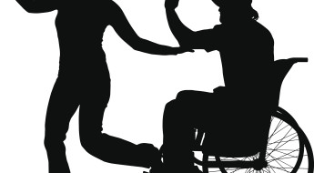 siluete. Persoană în scaun rulant. Femeie ce dansează, în picioare