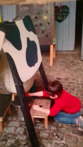 copil mulgănd o vacă de jucărie, la o fermă