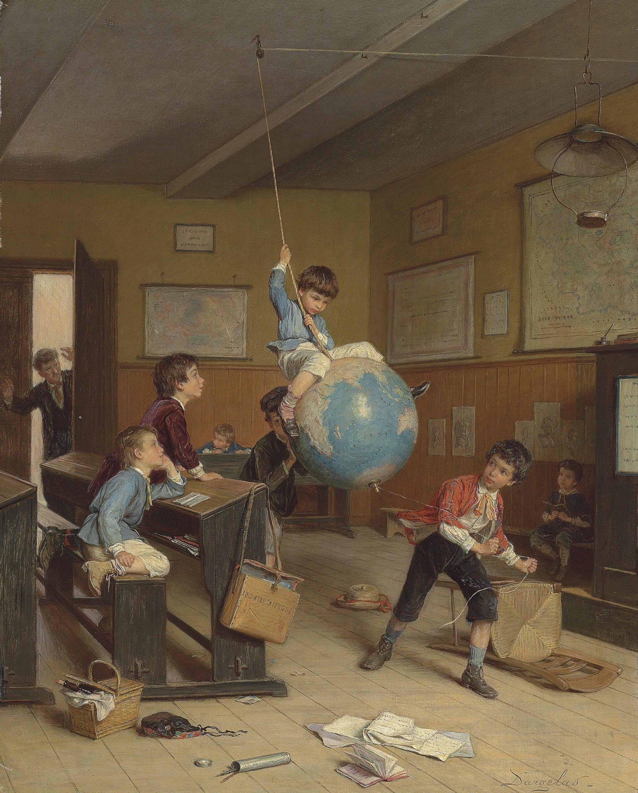 """Pictura """"în jurul lumii"""" a pictorului francez din secolul nouăsprezece, Dargelas. O sală de clasă, o școală de băieți. Copiii sunt singuri, în centrul imaginii trei copii se joacă cu globul pământesc atârnat din tavan. Unul este așezat pe el, se leagănă ca într-un leagăn. Copiii din jur privesc. Pe jos sunt cărți, caiete, un scaun răsturnat. În plan îndepărtat, profesorul intră pe ușă, cu mâinile ridicate în semn de uimire."""