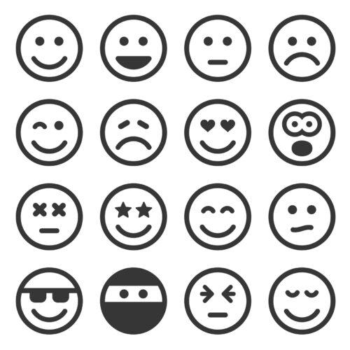 Emoticoane în alb și negru, reprezentând diferite emoții