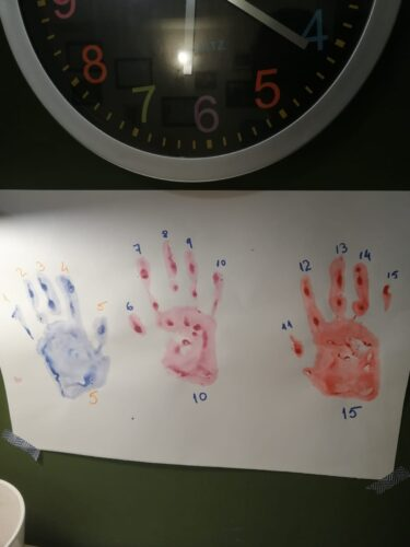 pe o coala alba, conturul a trei palme de copil, în dreptul fiecărui deget este scrisă o cifră, de la unu la cincisprezece