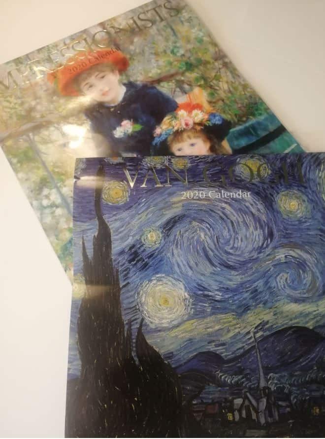 calendare de perete, având ca temă picturi ale impresioniștilor și Van Gogh