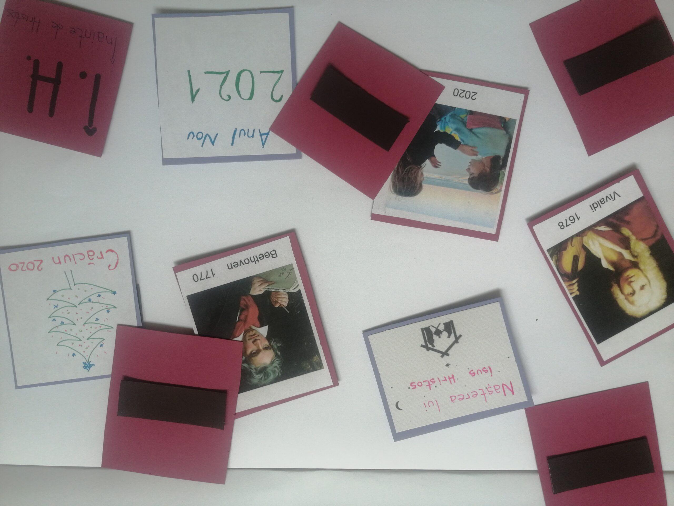 cartonașe pe care sunt printate portrete de compozitori și portrete ale copiilor