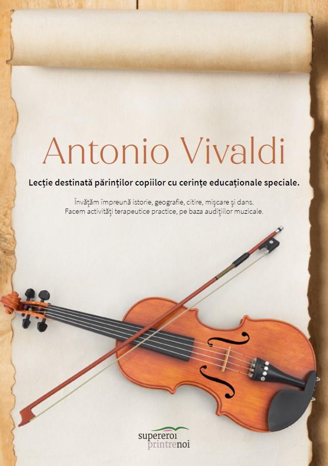 """coperta cărții cine a fost vivaldi. O vioară. Textul spune """" lecție destinată părinților copiilor cu cerințe educaționale speciale. învățăm împreună"""