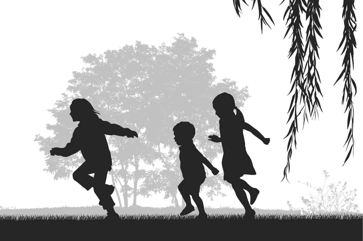 ilustrație alb negru. trei copii alearga afară